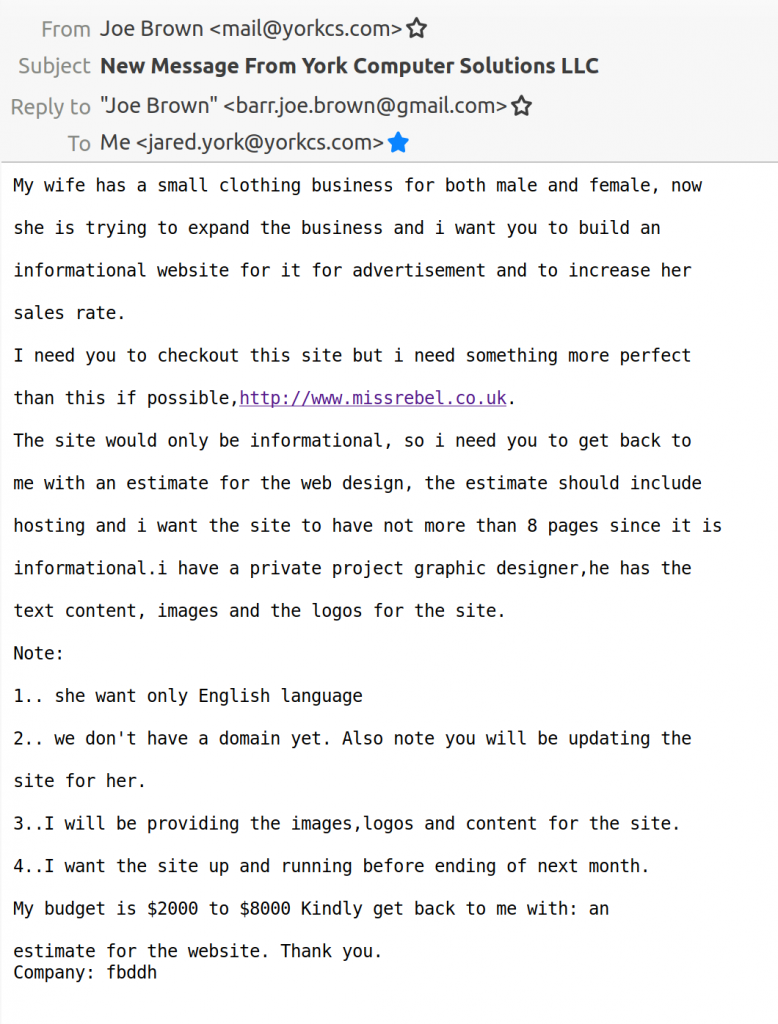 the web design scam email I received