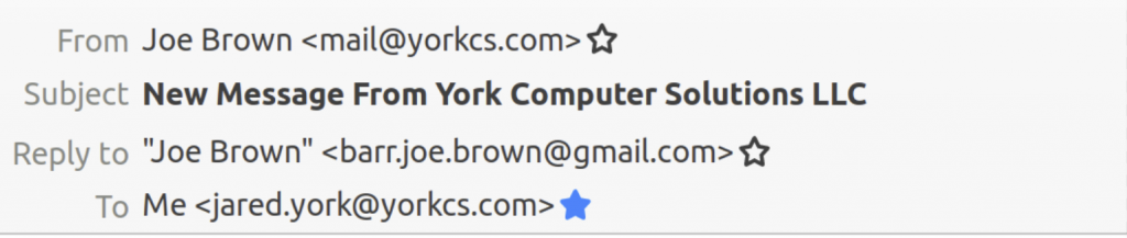 the email header from Thunderbird