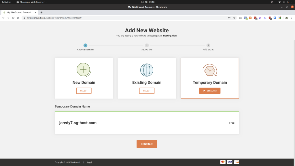 Add a website page in SiteGround with the Temporary Domain option selected