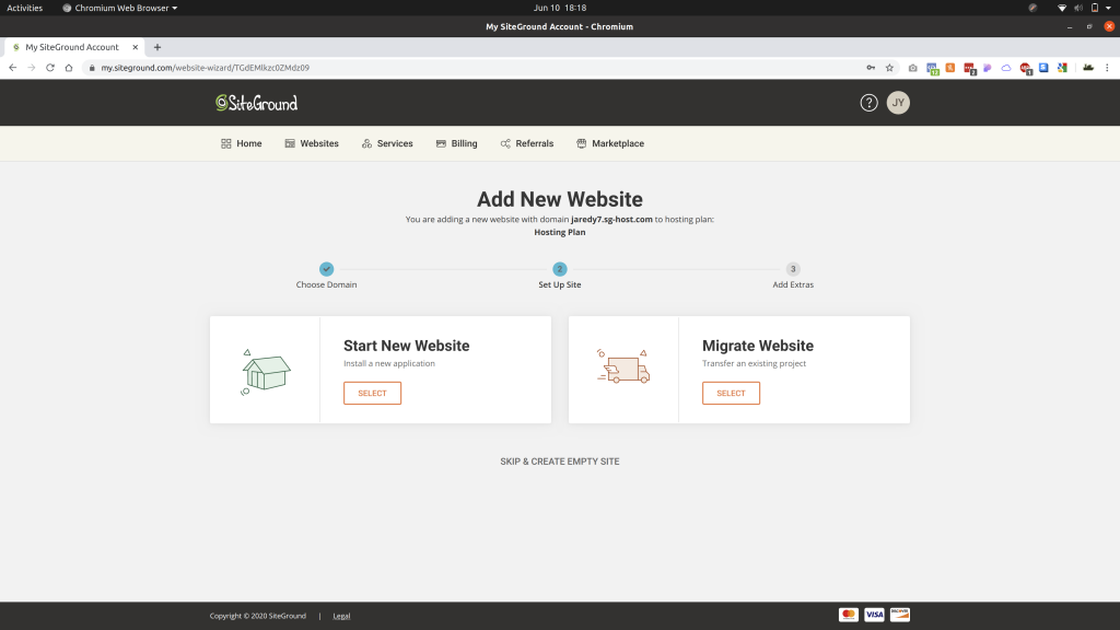 Add new website page in SiteGround showing Start New Website, Migrate Website, and Skip & Create Empty Site buttons