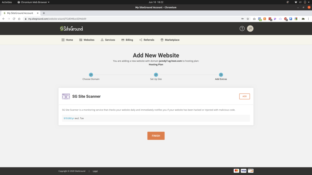Last prompt for creating a new website with SiteGround showing Finish button