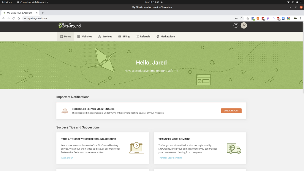 The SiteGround portal homepage