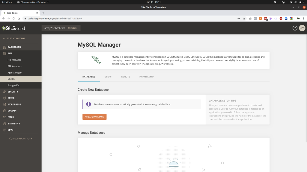 MySQL Manager page under Site Tools of SiteGround