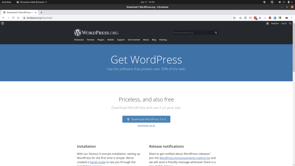 The WordPress download page