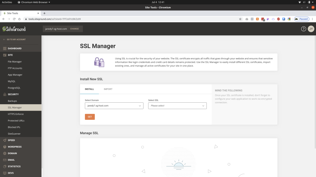 SSL Manager page in the Site Tools of SiteGround