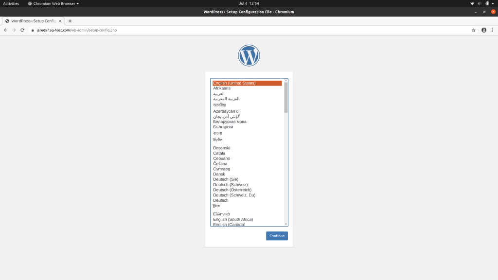 The first step of the WordPress installer, prompting for a language