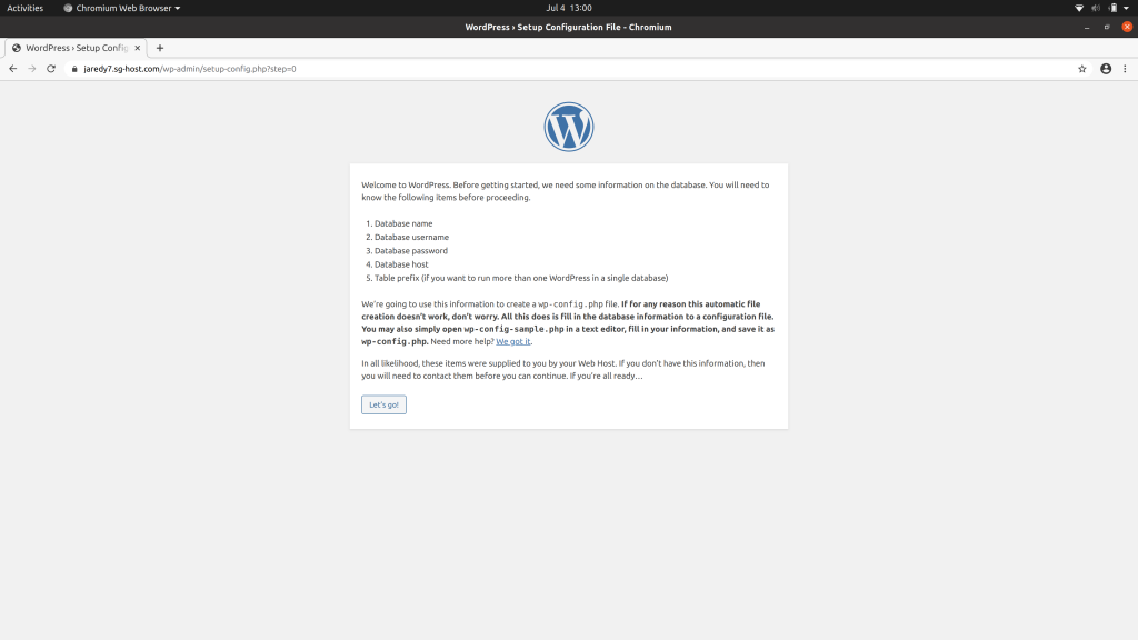 WordPress installation notice informing that you need your database credentials from SiteGround