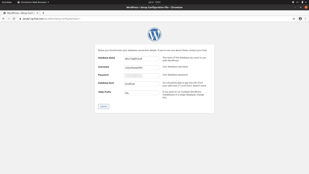 Next page of the WordPress installation prompting for the database credentials you should have from SiteGround