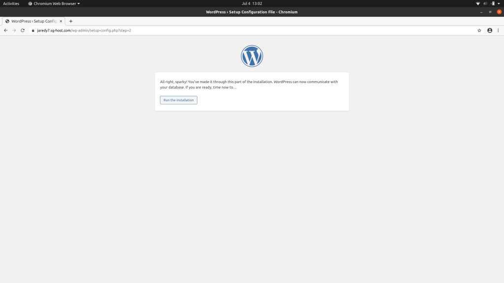 WordPress notice informing you that a database connection was successful