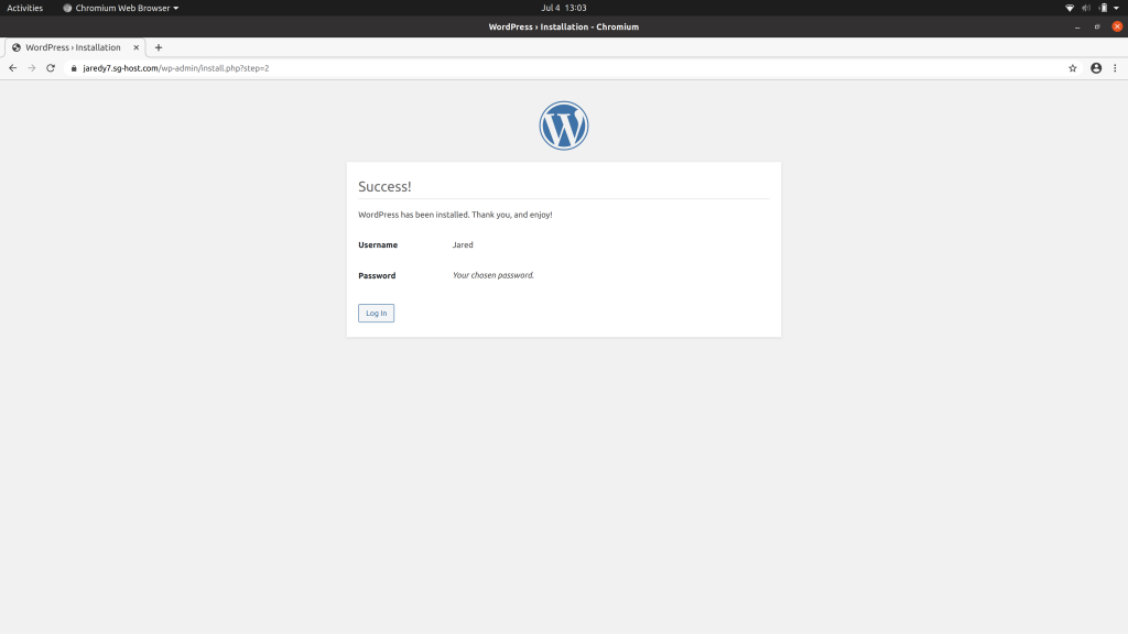 Installation success notice from WordPress