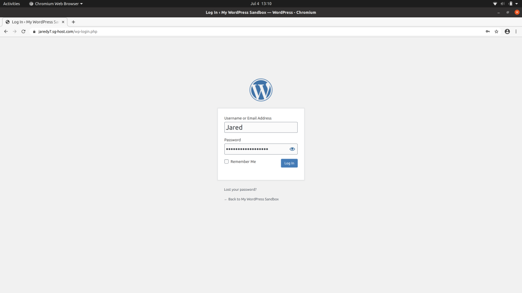 Login screen for WordPress