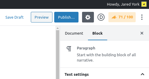 The top right corner of the WordPress editor