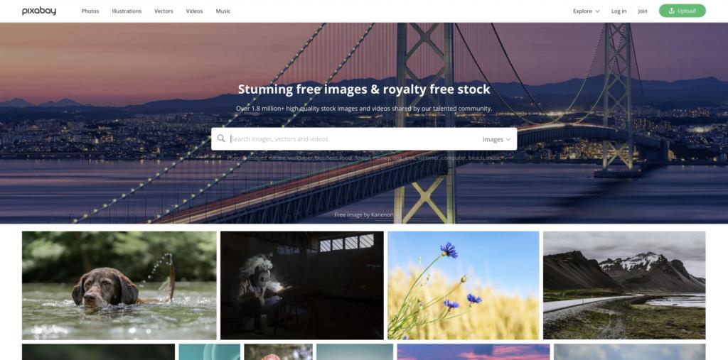 Homepage of Pixabay
