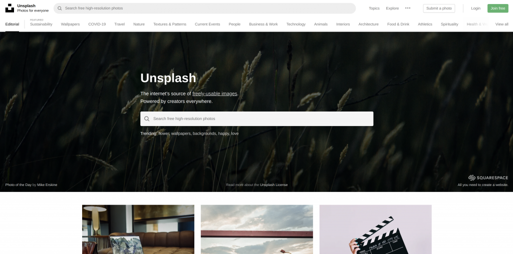 Homepage of Unsplash