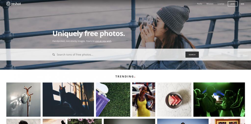 Homepage of Reshot