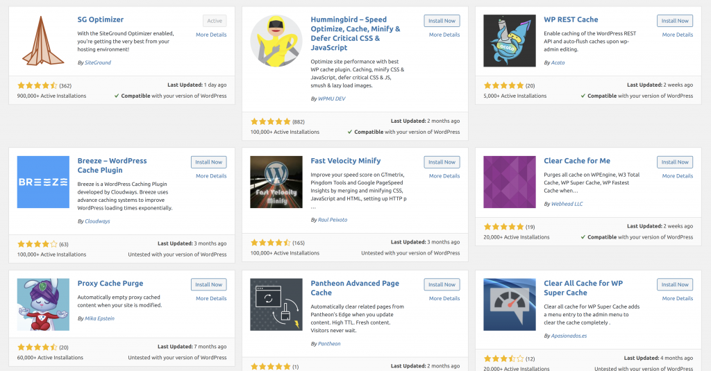 Plugin directory on a WordPress website, specifically emphasizing plugin ratings