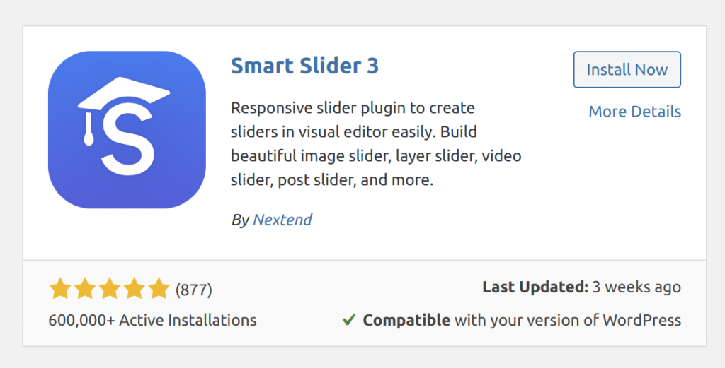 The WordPress Plugin Smart Slider 3 in the plugin directory on a WordPress website.