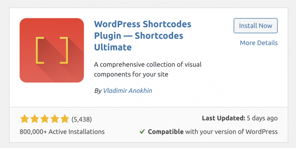 The entry for the Shortcodes Ultimate plugin in the plugin directory within WordPress