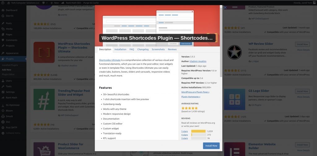 More information about the Shortcodes Ultimate plugin within the plugin directory of a WordPress website
