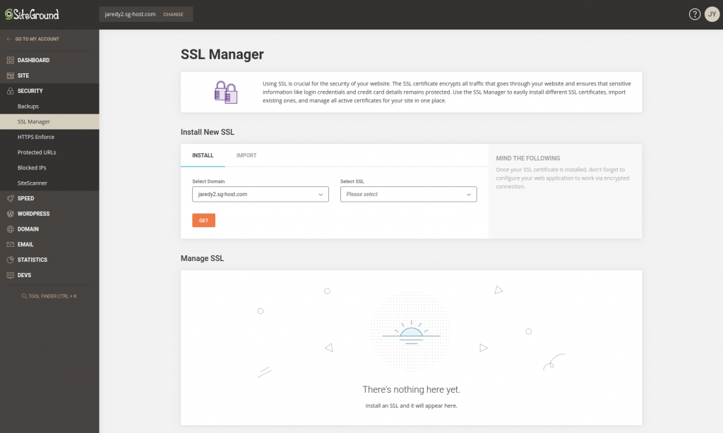 The SSL Manager under SiteGround's Site Tools