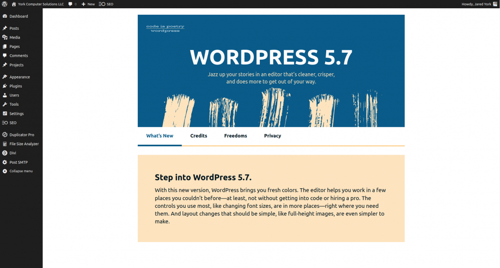 The welcome screen for the WordPress 5.7 update.